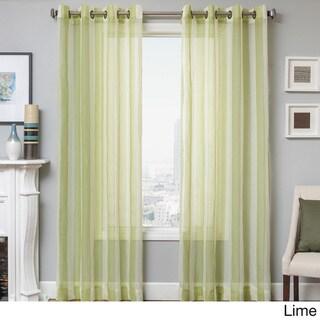 Milbrey Stripe Grommet Top Sheer Curtain Panel