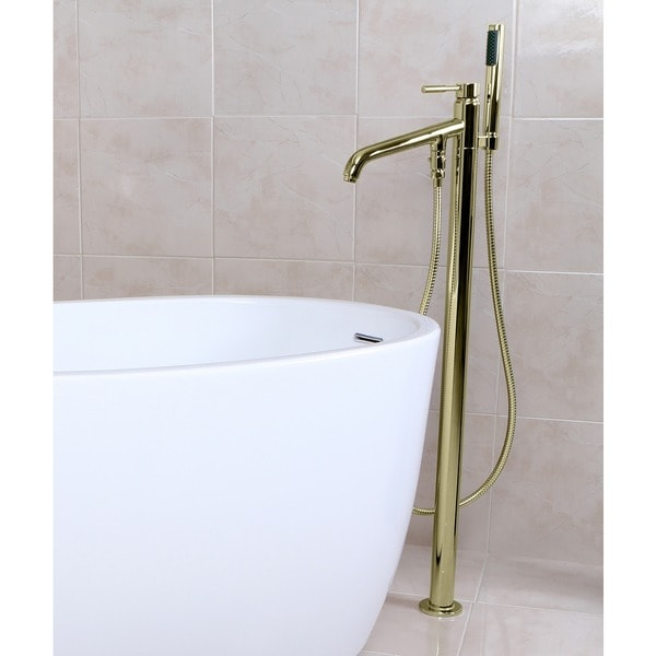 Freestanding Polished Brass Floor-mount Bathtub Filler with Handshower - Free Shipping Today ...