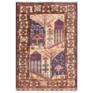 Herat Oriental Semi-antique Afghan Hand-knotted Tribal Balouchi Beige/ Rust Wool Rug (2'8 x 4')