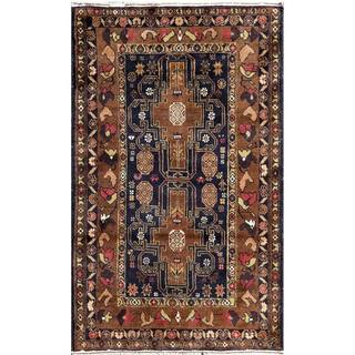 Herat Oriental Semi-antique Afghan Hand-knotted Tribal Balouchi Navy/ Brown Wool Area Rug (2'7 x 4'6)