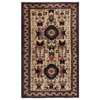 Herat Oriental Semi-antique Afghan Hand-knotted Tribal Balouchi Tan/ Navy Wool Area Rug (2'10 x 4'9)