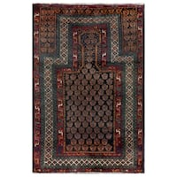 Herat Oriental Semi-antique Afghan Hand-knotted Tribal Balouchi Wool Area Rug (2'7 x 3'10)