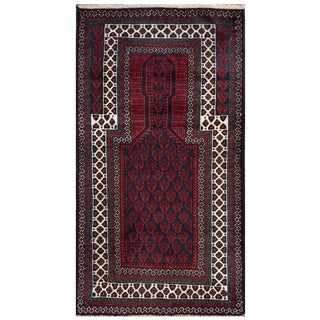 Herat Oriental Semi-antique Afghan Hand-knotted Tribal Balouchi Navy/ Red Wool Rug (2'8 x 4'10)