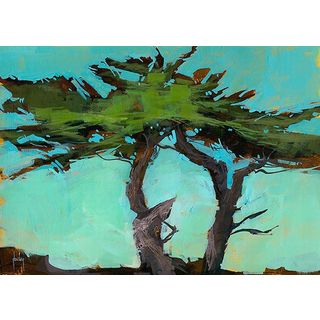 Paul Bailey 'Cypresses' Canvas Art