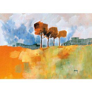 Paul Bailey 'Four Trees' Canvas Art Style: Contemporary
