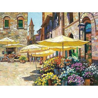 Howard Behrens 'Siena Flower Market' Canvas Art