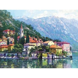 Howard Behrens 'Reflections of Lake Como' Canvas Art