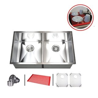 Double Bowl 32-inch Stainless Steel 50/50 Undermount Kitchen Sink Combo