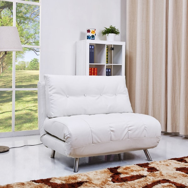 shop gold sparrow tampa white convertible big chair bed free shipping today overstock 9011903. Black Bedroom Furniture Sets. Home Design Ideas