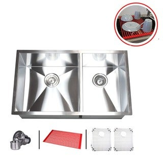 Double Bowl 32-inch Stainless Steel 60/40 Undermount Zero Radius Kitchen Sink