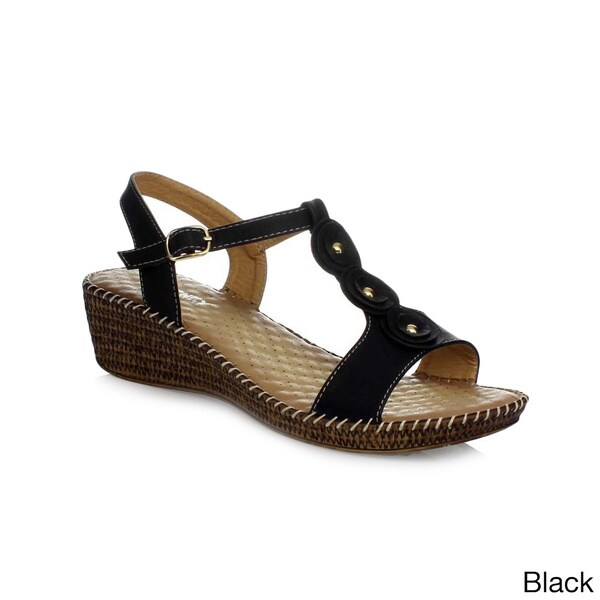 ae180b6858b Shop Via Pinky Women s  Tilly-23  Low Wedge T-strap Sandals - Free ...