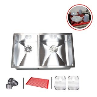 Double Bowl 32-inch 40/60 Undermount Zero Radius Kitchen Sink Combo
