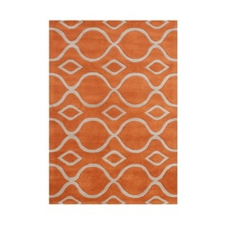 Alliyah Handmade Apricot Orange New Zealand Wool Rug (5' x 8')