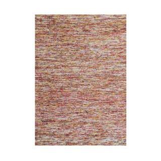Alliyah Hand Made Braided Ash Rose New Zeeland Blend Wool Rug 5' x 8'