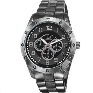 Joshua & Sons Men's Multifunction Sunray Dial Black Bracelet Watch