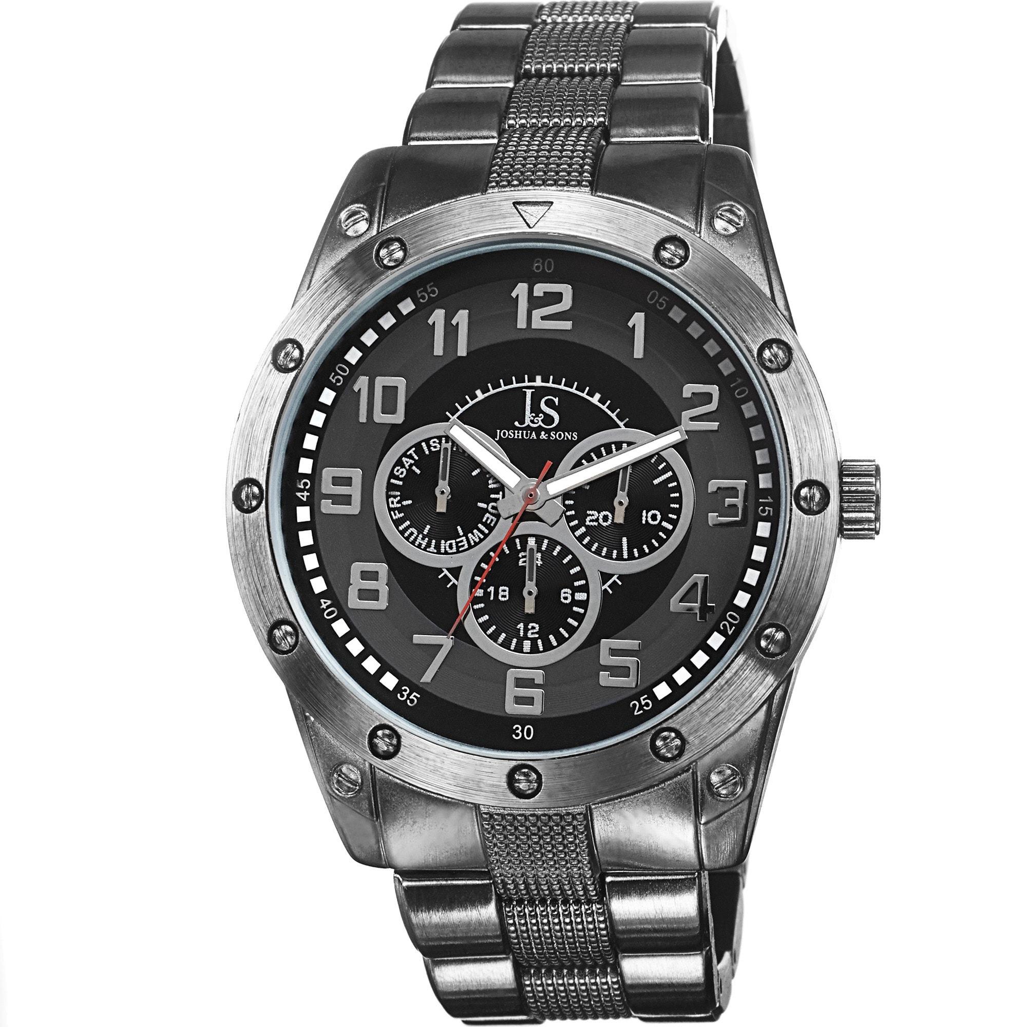 J&S Men's Multifunction Sunray Dial Black Bracelet Watch ...