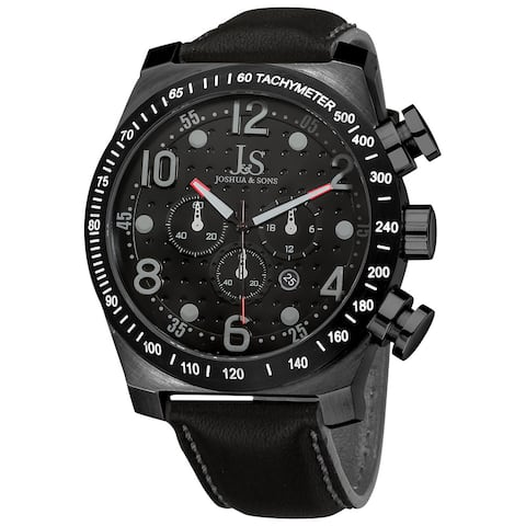 Joshua & Sons Men's Stainless Steel Chronograph Sport Black Watch
