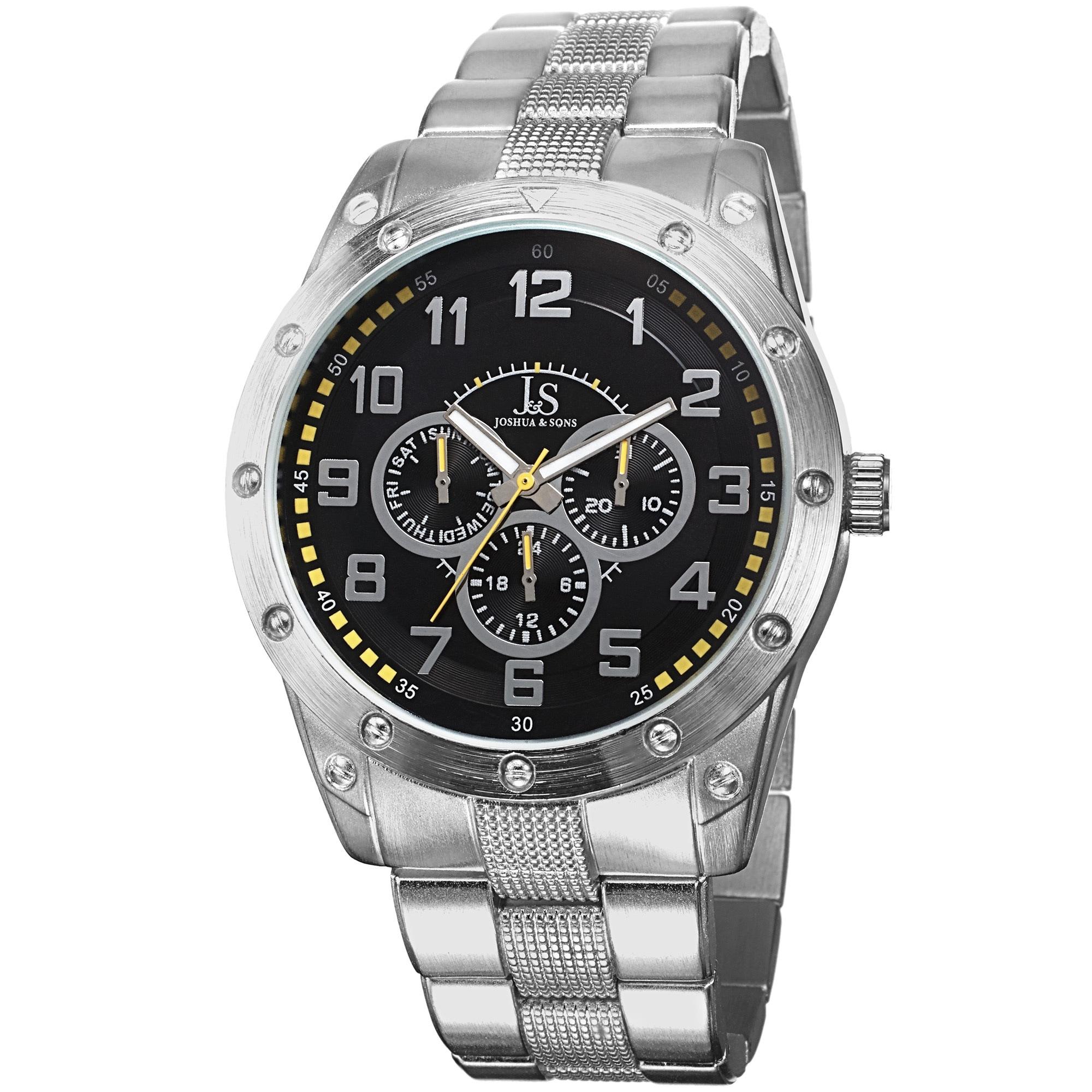 J&S Men's Multifunction Sunray Dial Bracelet Watch (Yello...