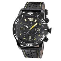 Joshua & Sons Men's Bold Chronograph Leather Strap Watch