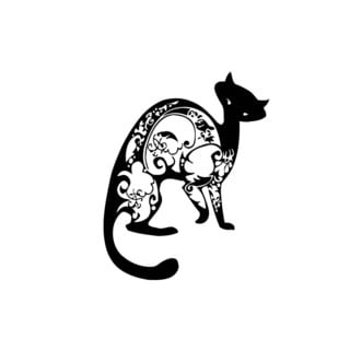 Cat with Tattoo Sticker Vinyl Wall Art