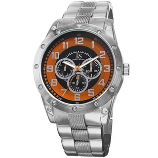Joshua & Sons Men's Multifunction Sunray Dial Orange Bracelet Watch