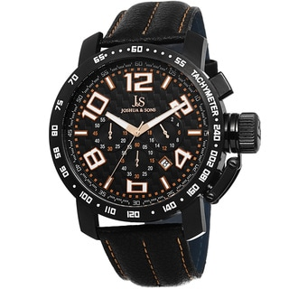 Joshua & Sons Men's Chronograph Tachymeter Leather Orange Strap Watch