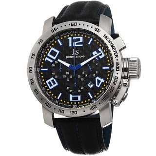 Joshua & Sons Men's Chronograph Tachymeter Leather Blue Strap Watch