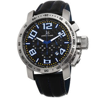 Joshua & Sons Men's Chronograph Tachymeter Leather Blue Strap Watch with FREE GIFT|https://ak1.ostkcdn.com/images/products/9012354/Joshua-Sons-Mens-Chronograph-Tachymeter-Leather-Strap-Watch-P16214342.jpg?impolicy=medium