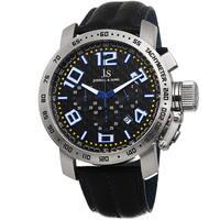 Joshua & Sons Men's Chronograph Tachymeter Leather Blue Strap Watch