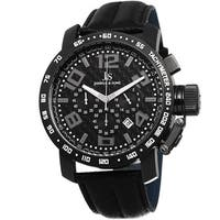 Joshua & Sons Men's Chronograph Tachymeter Leather Black Strap Watch