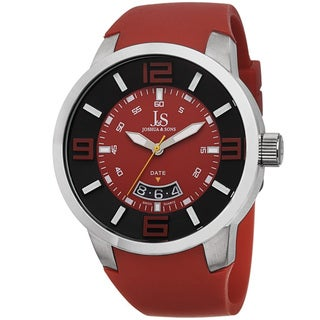 Joshua & Sons Men's Swiss Quartz Date Red Strap Watch