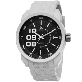 Joshua & Sons Men's Quartz Date White Strap Watch