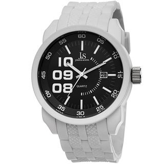 Joshua & Sons Men's Quartz Date White Strap Watch