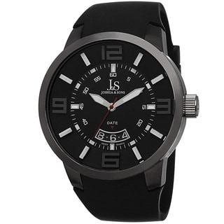Joshua & Sons Men's Swiss Quartz Date Black Strap Watch