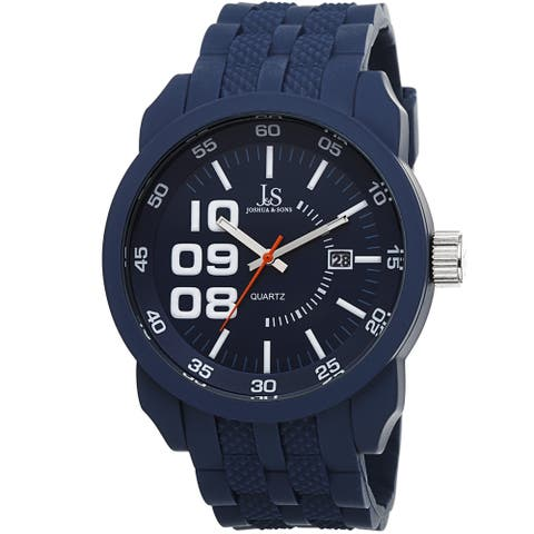Joshua & Sons Men's Quartz Date Blue Strap Watch