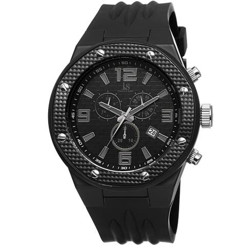Joshua & Sons Bold Men's Chronograph Date Black Strap Watch