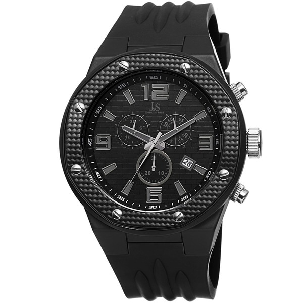 Joshua & Sons Bold Men's Chronograph Date Black Strap Watch. Opens flyout.