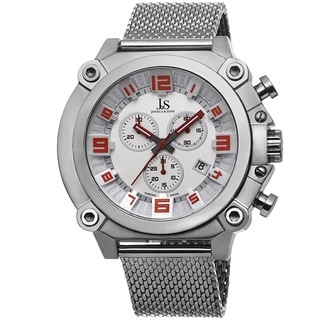 Joshua & Sons Men's Chronograph Stainless Steel Mesh Silver-Tone Bracelet Watch