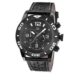 Joshua & Sons Men's Bold Chronograph Leather Black Strap Watch
