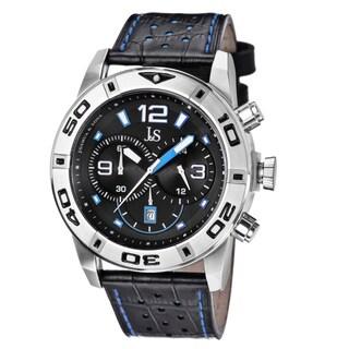 Joshua & Sons Men's Bold Chronograph Leather Blue Strap Watch