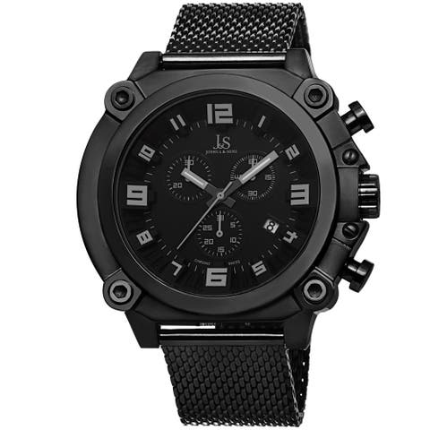 Joshua & Sons Men's Chronograph Stainless Steel Mesh Black Bracelet Watch