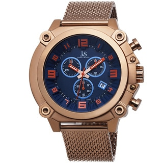 Joshua & Sons Men's Chronograph Stainless Steel Mesh Rose-Tone Bracelet Watch