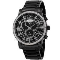 Joshua & Sons Men's Diamond Chronograph Stainless Steel Black Bracelet Watch