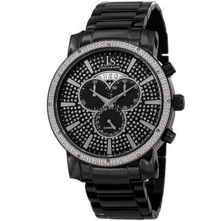 Joshua & Sons Men's Diamond Chronograph Stainless Steel Black Bracelet Watch