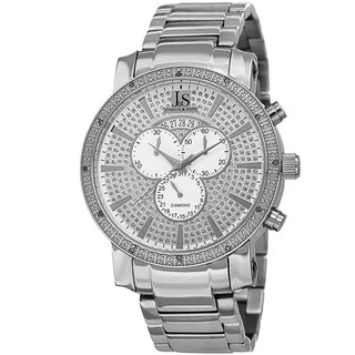 Joshua & Sons Men's Diamond Chronograph Stainless Steel Silver-Tone Bracelet Watch