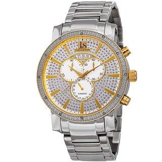 Joshua & Sons Men's Diamond Chronograph Stainless Steel Two-Tone Bracelet Watch with FREE GIFT