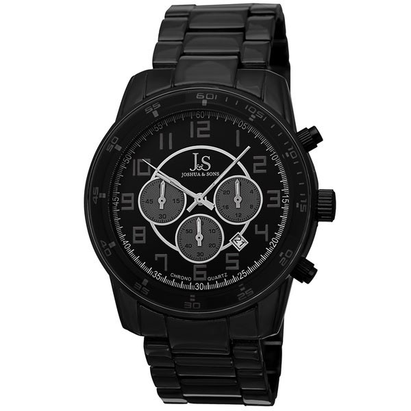 Joshua & Sons Men's Quartz Chronograph Date Black Bracelet Watch. Opens flyout.