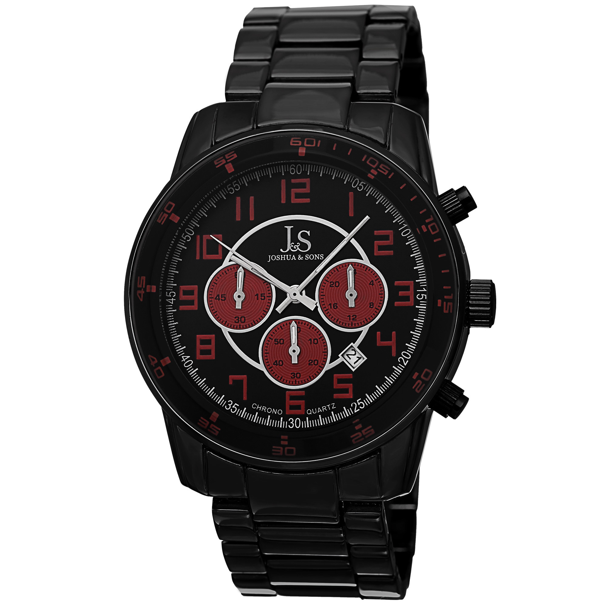 J&S Men's Quartz Chronograph Date Red Bracelet Watch (Red...