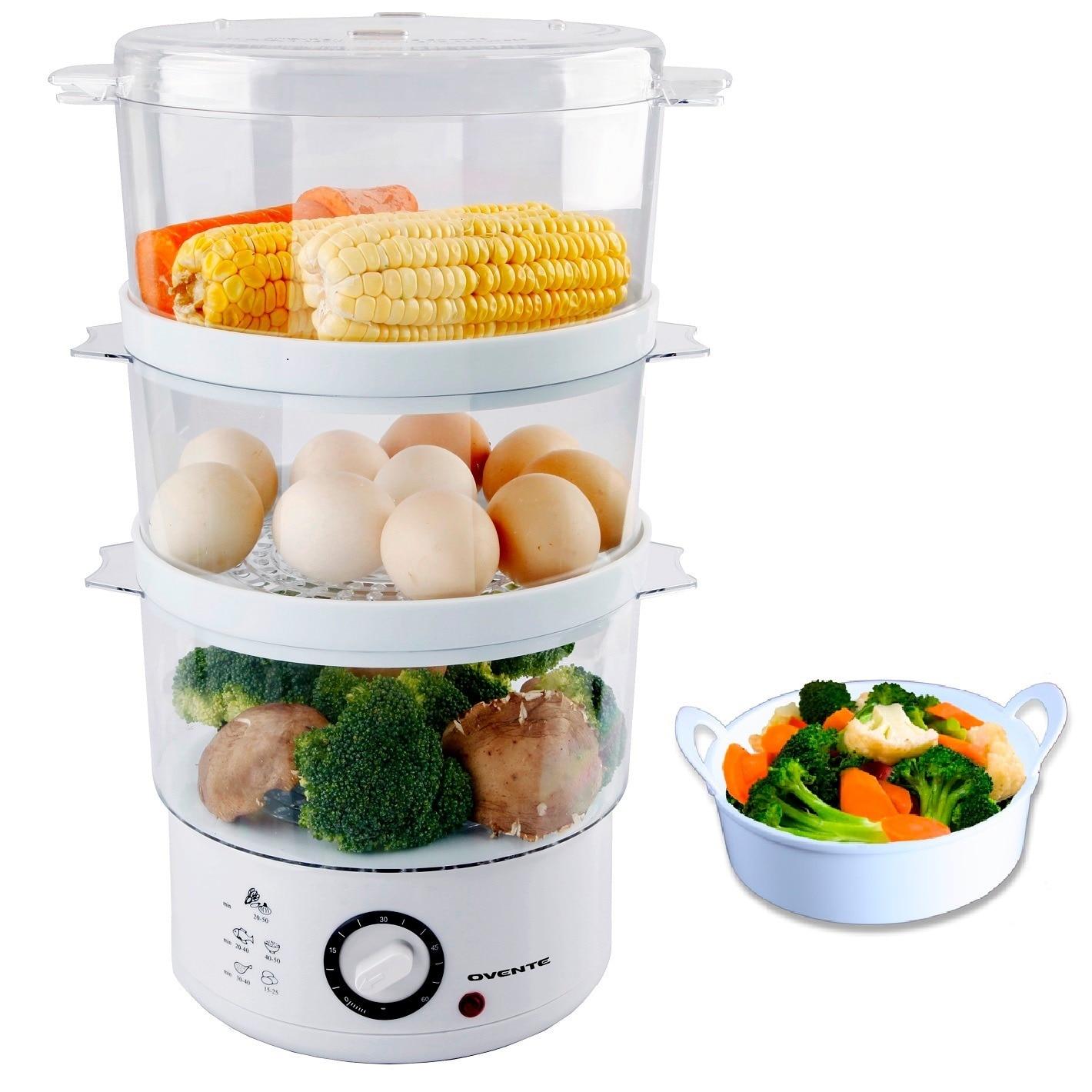 Ovente FS53W White 3-layer Electric Food Steamer (White) ...