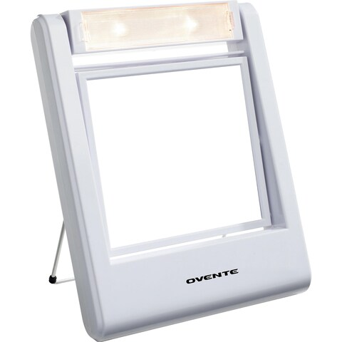 Ovente MLT22W Square Lighted 1x/2x Dual-side Vanity Mirror